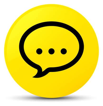 Talk icon isolated on yellow round button abstract illustration