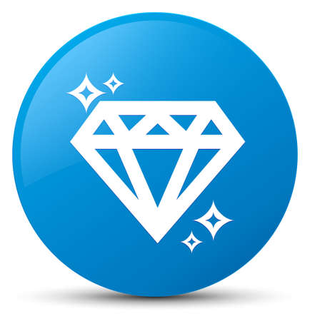 crystal button: Diamond icon isolated on cyan blue round button abstract illustration