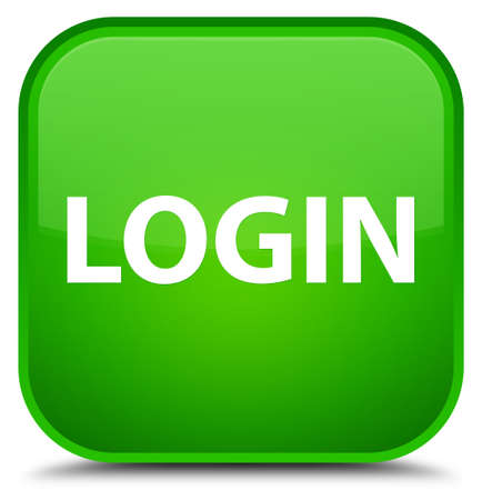 Login isolated on special green square button abstract illustration Banque d'images