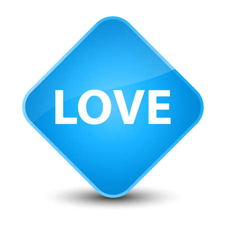 Love isolated on elegant cyan blue diamond button abstract illustration Stock Photo