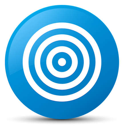 Target icon isolated on cyan blue round button abstract illustration