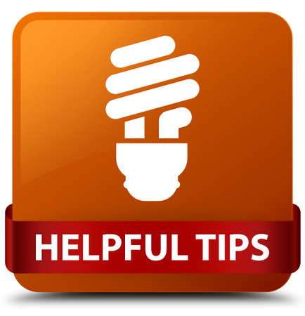 Helpful tips (bulb icon) isolated on brown square button with red ribbon in middle abstract illustration Stock Photo