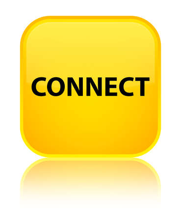 Connect isolated on special yellow square button reflected abstract illustration