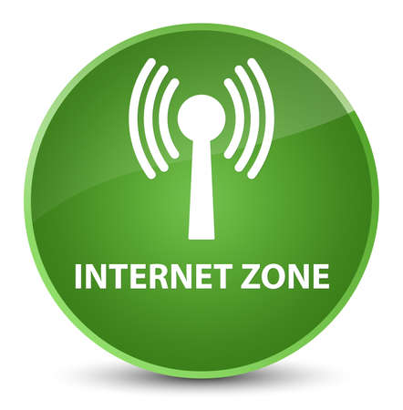Internet zone (wlan network) isolated on elegant soft green round button abstract illustration