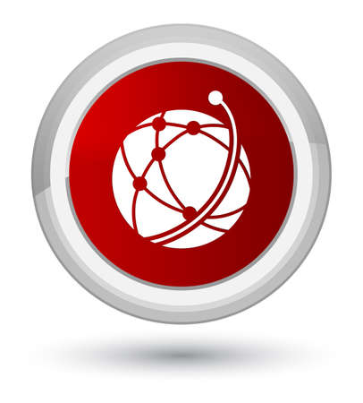 Global network icon isolated on prime red round button abstract illustration