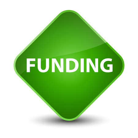Funding isolated on elegant green diamond button abstract illustration