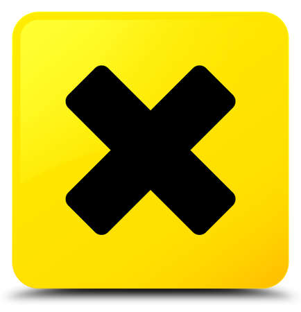 Cancel icon isolated on yellow square button abstract illustration