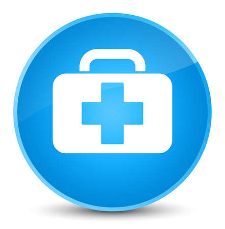 Medical bag icon isolated on elegant cyan blue round button abstract illustration Stock Photo