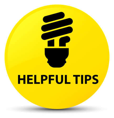 Helpful tips (bulb icon) isolated on yellow round button abstract illustration Stock Photo