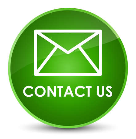 Contact us (email icon) isolated on elegant green round button abstract illustration
