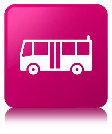 Bus icon isolated on pink square button reflected abstract illustration Stock fotó