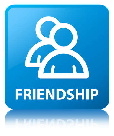 Friendship (group icon) isolated on cyan blue square button reflected abstract illustration Stock Photo