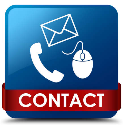Contact (phone email and mouse icon) blue isolated on square button with red ribbon in middle abstract illustration Stock Photo