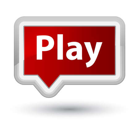 Play isolated on prime red banner button abstract illustration