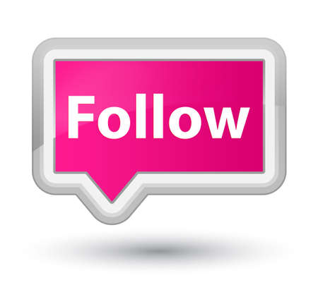 Follow isolated on prime pink banner button abstract illustration Stock Photo
