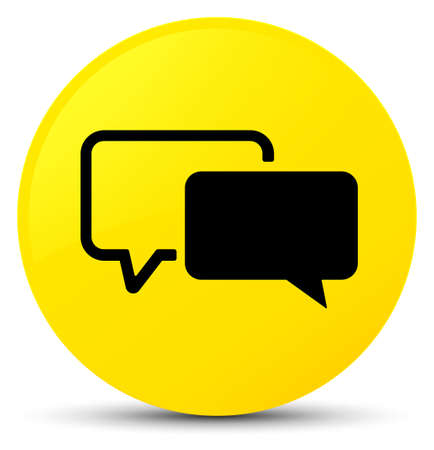 Testimonials icon isolated on yellow round button abstract illustration