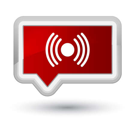Network signal icon isolated on prime red banner button abstract illustration