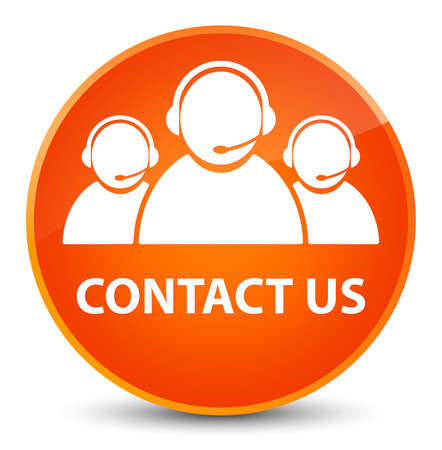 Contact us (customer care team icon) isolated on elegant orange round button abstract illustration