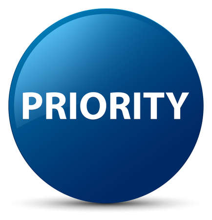 Priority isolated on blue round button abstract illustration