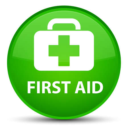First aid isolated on special green round button abstract illustration