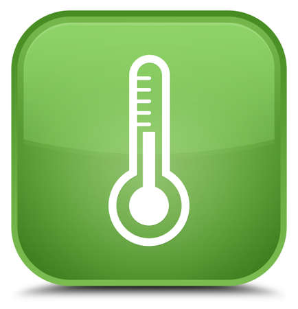 Thermometer icon isolated on special soft green square button abstract illustration