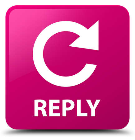 Reply (rotate arrow icon) isolated on pink square button abstract illustration