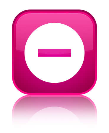 Cancel icon isolated on special pink square button reflected abstract illustration Stock Photo