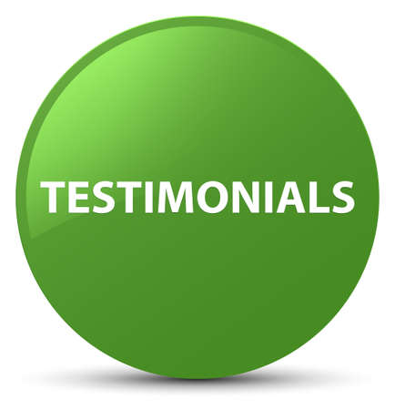 Testimonials isolated on soft green round button abstract illustration