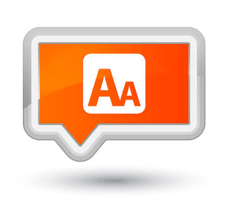 Font size box icon isolated on prime orange banner button abstract illustration
