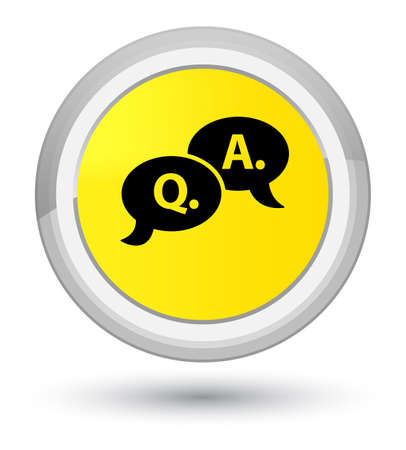 Question answer bubble icon isolated on prime yellow round button abstract illustration