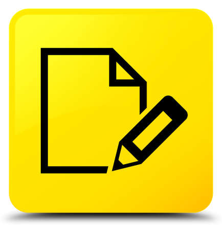 Edit document icon isolated on yellow square button abstract illustration