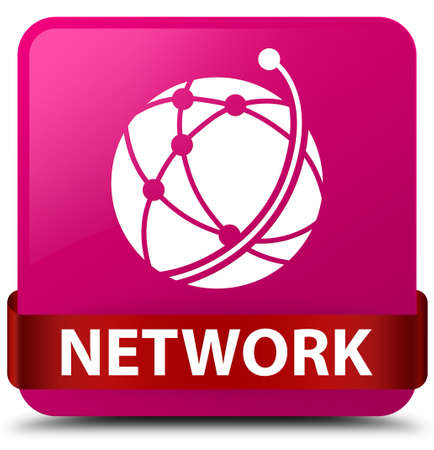 Network (global network icon) isolated on pink square button with red ribbon in middle abstract illustration Stock Illustration - 89525817