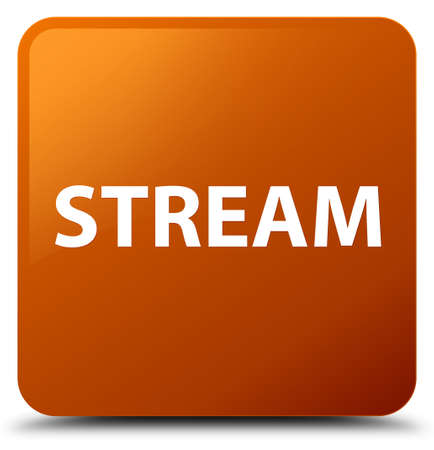 Stream isolated on brown square button abstract illustration Banco de Imagens