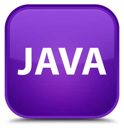 特別な紫色の四角ボタンの抽象イラストに分離された Java 写真素材