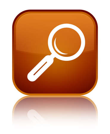 Magnifying glass icon isolated on special brown square button reflected abstract illustration