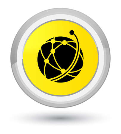 prime: Global network icon isolated on prime yellow round button abstract illustration Stock Photo