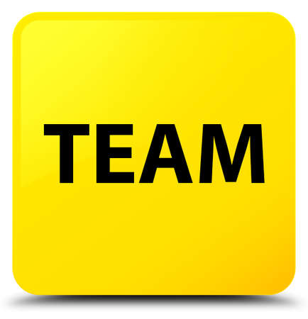 Team isolated on yellow square button abstract illustration