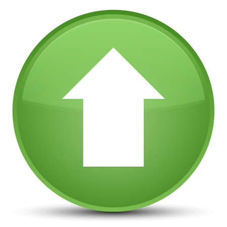 Upload arrow icon isolated on special soft green round button abstract illustration Stock Photo