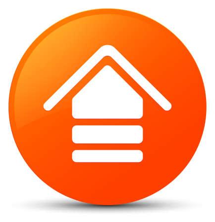 Upload icon isolated on orange round button abstract illustration Standard-Bild