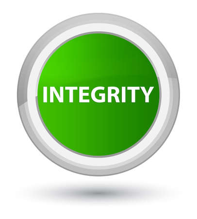 Integrity isolated on prime green round button abstract illustration Stock Photo