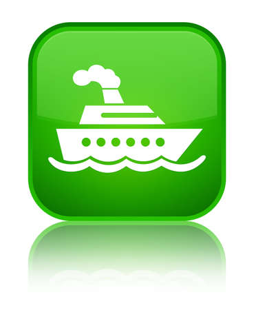 Cruise ship icon isolated on special green square button reflected abstract illustration