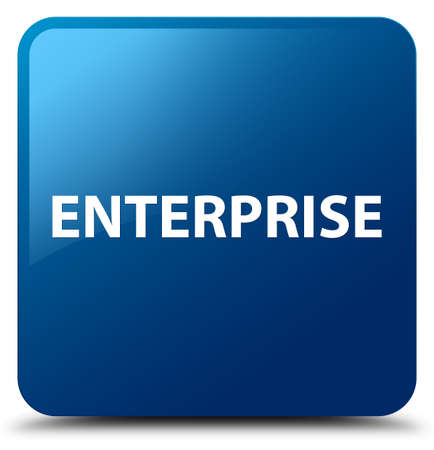 Enterprise isolated on blue square button abstract illustration Stok Fotoğraf