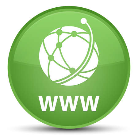 WWW (global network icon) isolated on special soft green round button abstract illustration