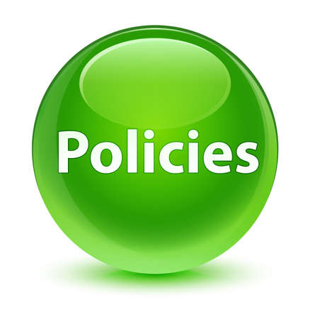 Policies isolated on glassy green round button abstract illustration