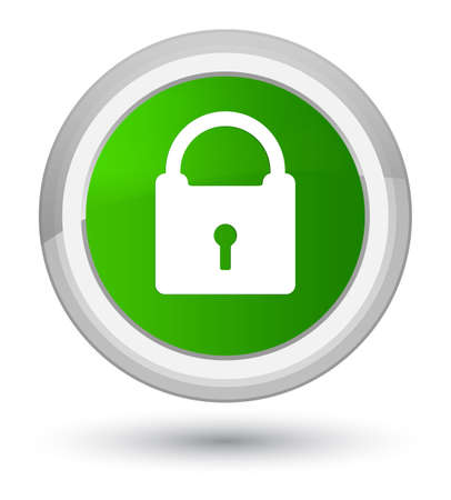 Padlock icon isolated on prime green round button abstract illustration Stock Photo