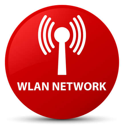 Wlan network isolated on red round button abstract illustration
