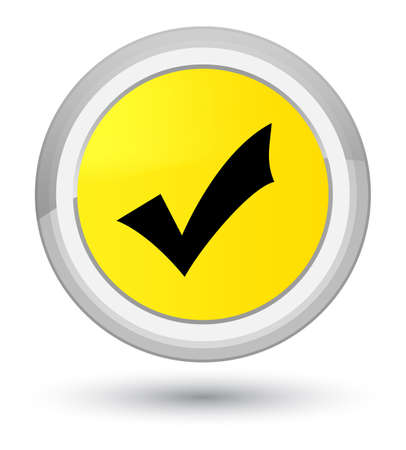 Validation icon isolated on prime yellow round button abstract illustration
