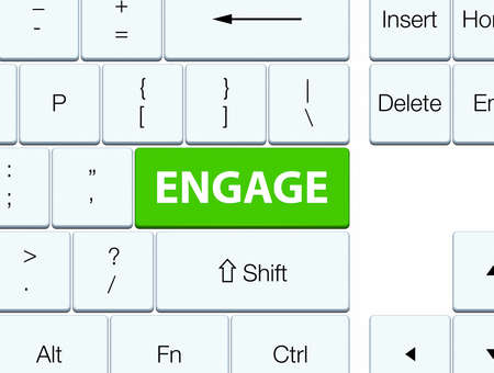 Engage isolated on soft green keyboard button abstract illustration