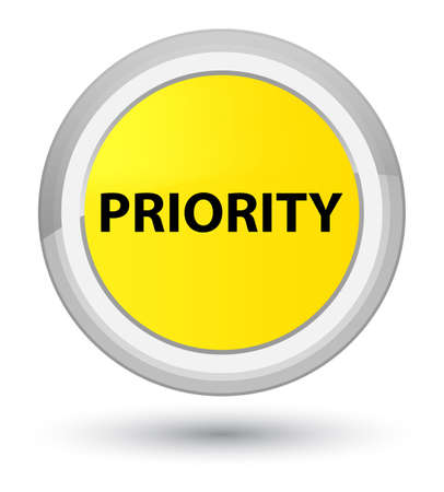 Priority isolated on prime yellow round button abstract illustration Фото со стока