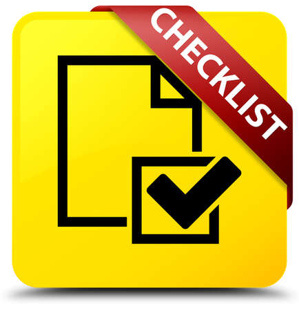 Checklist isolated on yellow square button with red ribbon in corner abstract illustration Stock Photo